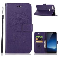Intricate Embossing Owl Campanula Leather Wallet Case for Vivo X20 Plus - Purple