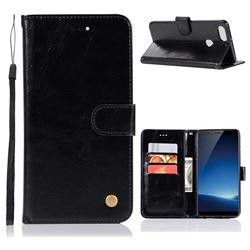 Luxury Retro Leather Wallet Case for Vivo X20 Plus - Black