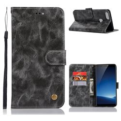 Luxury Retro Leather Wallet Case for Vivo X20 Plus - Gray