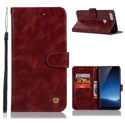 Luxury Retro Leather Wallet Case for Vivo X20 Plus - Wine Red