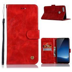 Luxury Retro Leather Wallet Case for Vivo X20 Plus - Red