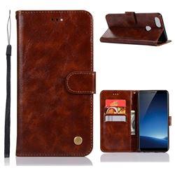 Luxury Retro Leather Wallet Case for Vivo X20 Plus - Brown