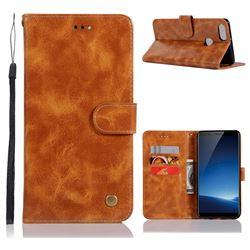 Luxury Retro Leather Wallet Case for Vivo X20 Plus - Golden