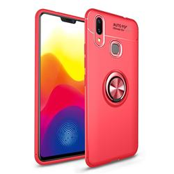 Auto Focus Invisible Ring Holder Soft Phone Case for vivo X21 - Red