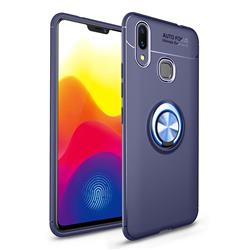 Auto Focus Invisible Ring Holder Soft Phone Case for vivo X21 - Blue