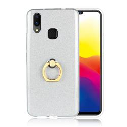 Luxury Soft TPU Glitter Back Ring Cover with 360 Rotate Finger Holder Buckle for vivo X21 - White