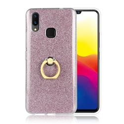 Luxury Soft TPU Glitter Back Ring Cover with 360 Rotate Finger Holder Buckle for vivo X21 - Pink