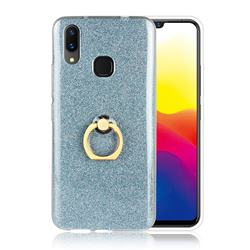 Luxury Soft TPU Glitter Back Ring Cover with 360 Rotate Finger Holder Buckle for vivo X21 - Blue