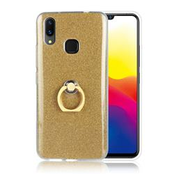 Luxury Soft TPU Glitter Back Ring Cover with 360 Rotate Finger Holder Buckle for vivo X21 - Golden