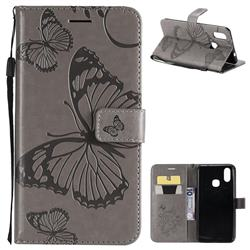 Embossing 3D Butterfly Leather Wallet Case for vivo X21 - Gray