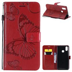 Embossing 3D Butterfly Leather Wallet Case for vivo X21 - Red