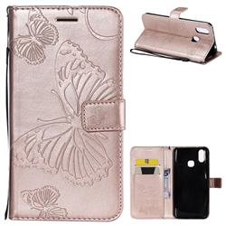 Embossing 3D Butterfly Leather Wallet Case for vivo X21 - Rose Gold