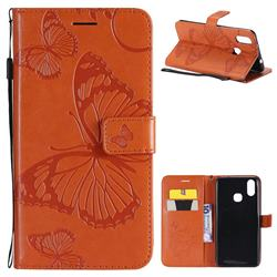 Embossing 3D Butterfly Leather Wallet Case for vivo X21 - Orange