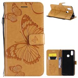Embossing 3D Butterfly Leather Wallet Case for vivo X21 - Yellow
