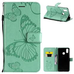 Embossing 3D Butterfly Leather Wallet Case for vivo X21 - Green