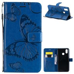 Embossing 3D Butterfly Leather Wallet Case for vivo X21 - Blue
