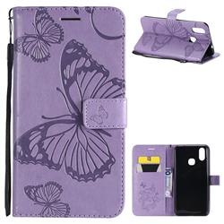 Embossing 3D Butterfly Leather Wallet Case for vivo X21 - Purple