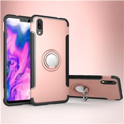 Armor Anti Drop Carbon PC + Silicon Invisible Ring Holder Phone Case for vivo X21 UD - Rose Gold