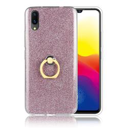 Luxury Soft TPU Glitter Back Ring Cover with 360 Rotate Finger Holder Buckle for vivo X21 UD - Pink