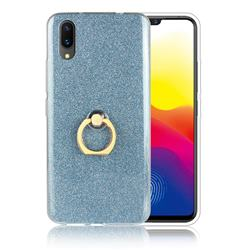 Luxury Soft TPU Glitter Back Ring Cover with 360 Rotate Finger Holder Buckle for vivo X21 UD - Blue