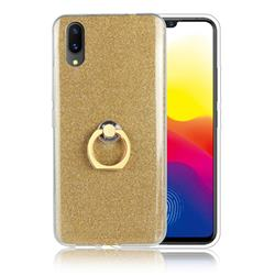 Luxury Soft TPU Glitter Back Ring Cover with 360 Rotate Finger Holder Buckle for vivo X21 UD - Golden
