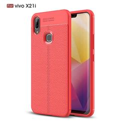 Luxury Auto Focus Litchi Texture Silicone TPU Back Cover for vivo X21i - Red