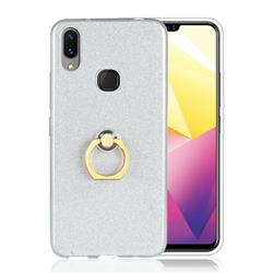Luxury Soft TPU Glitter Back Ring Cover with 360 Rotate Finger Holder Buckle for vivo X21i - White