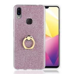 Luxury Soft TPU Glitter Back Ring Cover with 360 Rotate Finger Holder Buckle for vivo X21i - Pink