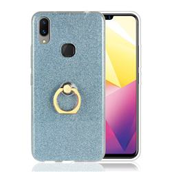 Luxury Soft TPU Glitter Back Ring Cover with 360 Rotate Finger Holder Buckle for vivo X21i - Blue