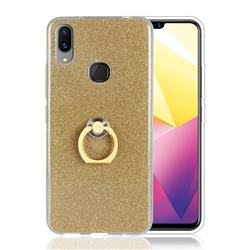 Luxury Soft TPU Glitter Back Ring Cover with 360 Rotate Finger Holder Buckle for vivo X21i - Golden