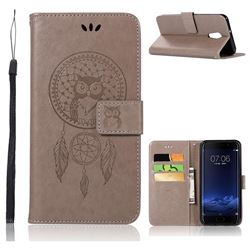 Intricate Embossing Owl Campanula Leather Wallet Case for Vivo Xplay6 - Grey