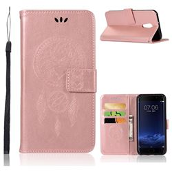 Intricate Embossing Owl Campanula Leather Wallet Case for Vivo Xplay6 - Rose Gold