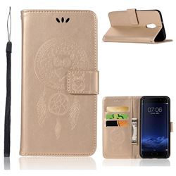 Intricate Embossing Owl Campanula Leather Wallet Case for Vivo Xplay6 - Champagne