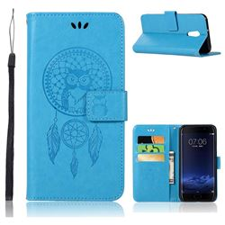 Intricate Embossing Owl Campanula Leather Wallet Case for Vivo Xplay6 - Blue
