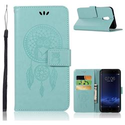 Intricate Embossing Owl Campanula Leather Wallet Case for Vivo Xplay6 - Green