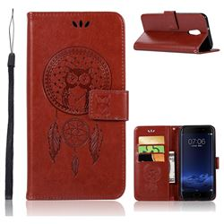 Intricate Embossing Owl Campanula Leather Wallet Case for Vivo Xplay6 - Brown