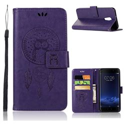 Intricate Embossing Owl Campanula Leather Wallet Case for Vivo Xplay6 - Purple