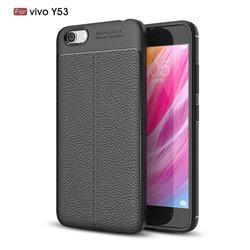 Luxury Auto Focus Litchi Texture Silicone TPU Back Cover for Vivo Y53 - Black