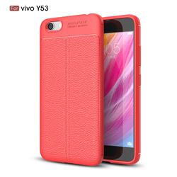 Luxury Auto Focus Litchi Texture Silicone TPU Back Cover for Vivo Y53 - Red