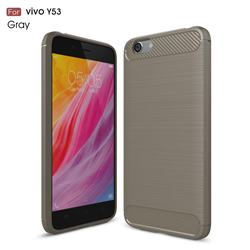 Luxury Carbon Fiber Brushed Wire Drawing Silicone TPU Back Cover for Vivo Y53 - Gray