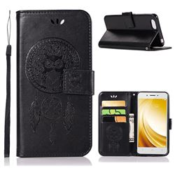 Intricate Embossing Owl Campanula Leather Wallet Case for Vivo Y53 - Black