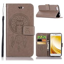 Intricate Embossing Owl Campanula Leather Wallet Case for Vivo Y53 - Grey