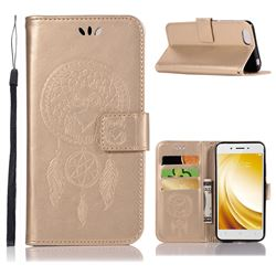 Intricate Embossing Owl Campanula Leather Wallet Case for Vivo Y53 - Champagne