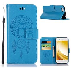 Intricate Embossing Owl Campanula Leather Wallet Case for Vivo Y53 - Blue