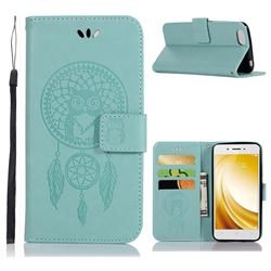 Intricate Embossing Owl Campanula Leather Wallet Case for Vivo Y53 - Green