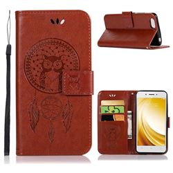 Intricate Embossing Owl Campanula Leather Wallet Case for Vivo Y53 - Brown