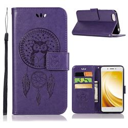 Intricate Embossing Owl Campanula Leather Wallet Case for Vivo Y53 - Purple