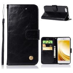 Luxury Retro Leather Wallet Case for Vivo Y53 - Black