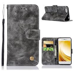 Luxury Retro Leather Wallet Case for Vivo Y53 - Gray