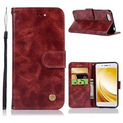 Luxury Retro Leather Wallet Case for Vivo Y53 - Wine Red